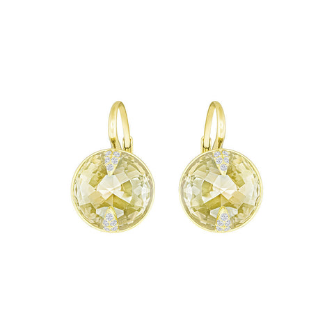 Swarovski Globe Pierced Earrings Gold Tone