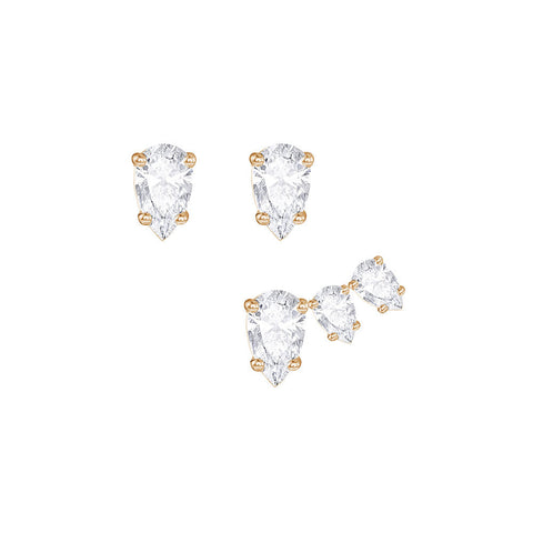 Swarovski Attract Pear Pierced Earring Set White Rose gold plating