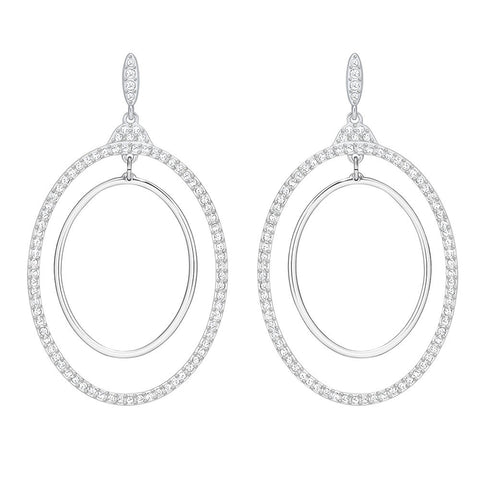 Swarovski Gilberte Hoop Pierced Earrings White