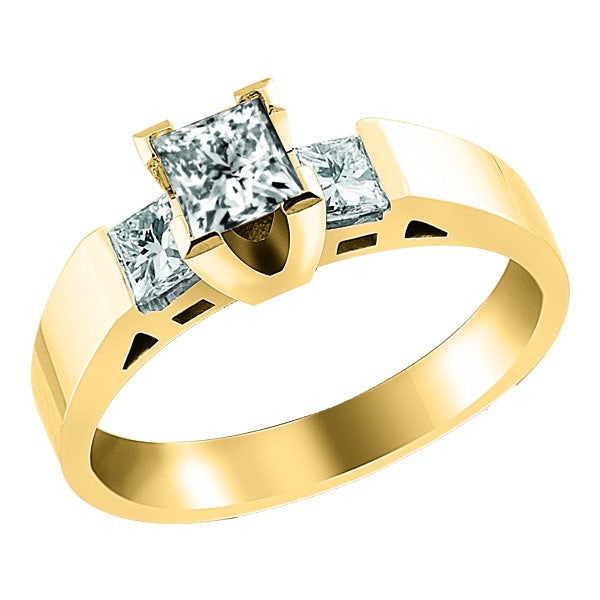 GOLD 3-STONE DIAMOND ENGAGEMENT RING RIN-LCA-1340