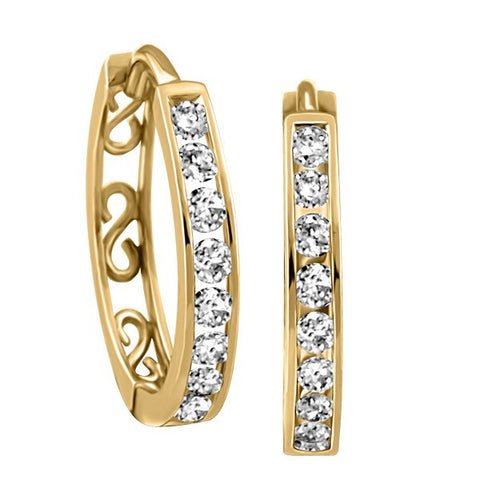 GOLD 0.15 CTW DIAMOND HOOP EARRINGS EAR-DIA-0555