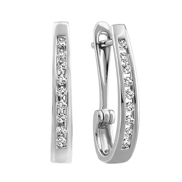 WHITE GOLD 0.50 CTW DIAMOND HOOP EARRINGS EAR-DIA-0551