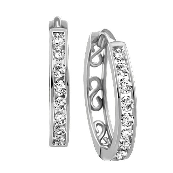 WHITE GOLD 0.50 CTW DIAMOND HOOP EARRINGS EAR-DIA-0547