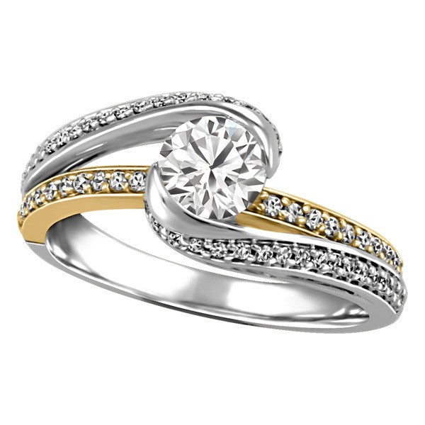 TWO TONE GOLD CANADIAN DIAMOND ENGAGEMENT RING RIN-LCA-2797