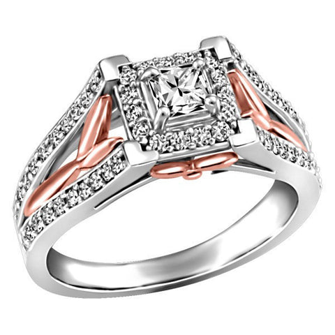 WHITE AND ROSE GOLD CANADIAN DIAMOND ENGAGEMENT RING RIN-LCA-2796