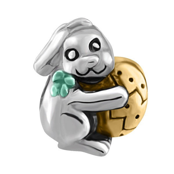 SILVER EASTER BUNNY BEAD BEA-YAF-0183