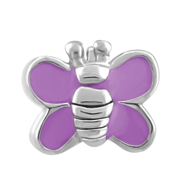 SILVER AND PURPLE BUTTERFLY BEAD BEA-YAF-0197