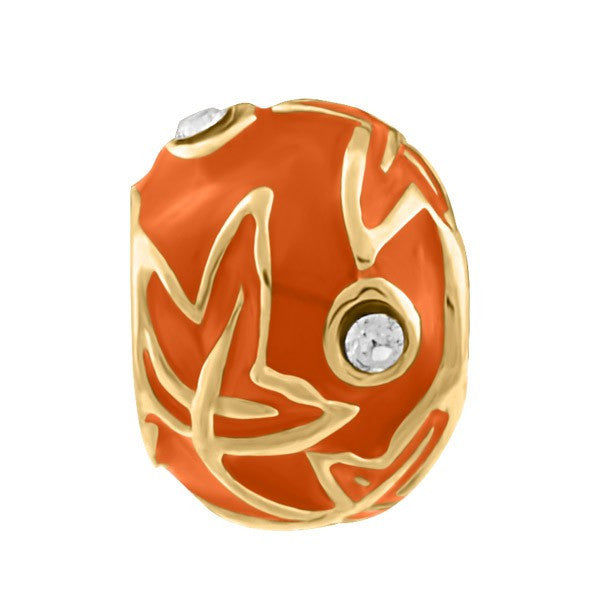 SILVER AND ORANGE ENAMEL BEAD BEA-YAF-0202