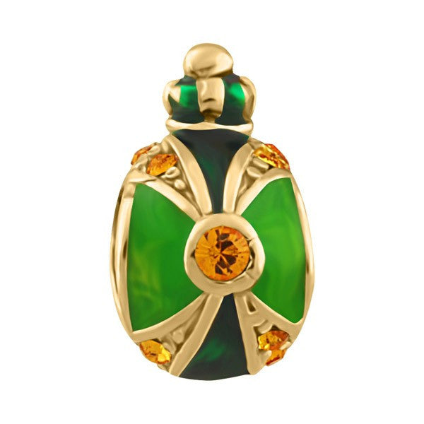 SILVER AND GREEN ENAMEL BEAD BEA-YAF-0226