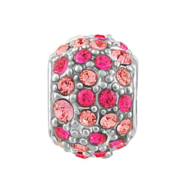 SILVER AND PINK CRYSTALS BEAD BEA-YAF-0244