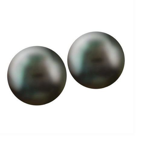 SILVER BLACK CULTURED PEARL EARRINGS EAR-GEM-1096