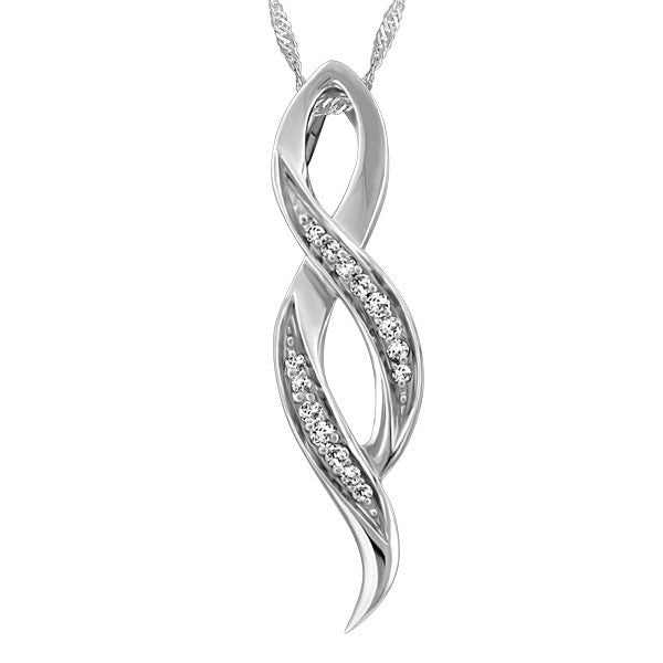 WHITE GOLD DIAMOND INFINITY PENDANT PEN-DIA-2610