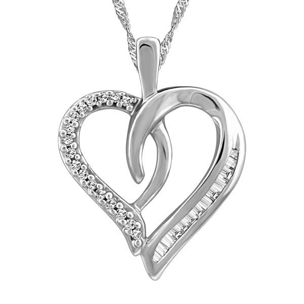 WHITE GOLD BAGUETTE DIAMOND HEART PENDANT PEN-DIA-2623