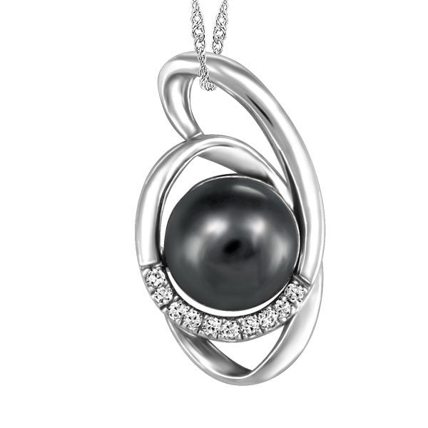 WHITE GOLD DIAMOND AND BLACK PEARL PENDANT PEN-GEM-1892