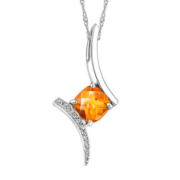WHITE GOLD DIAMOND AND CITRINE PENDANT PEN-GEM-1876