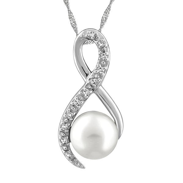 WHITE GOLD DIAMOND AND WHITE PEARL PENDANT PEN-GEM-1891