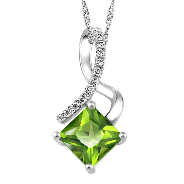 WHITE GOLD DIAMOND AND PERIDOT PENDANT PEN-GEM-1878