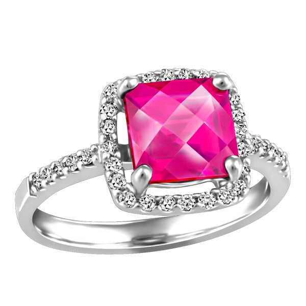 WHITE GOLD DIAMOND AND PINK TOPAZ RING RIN-LGM-2622