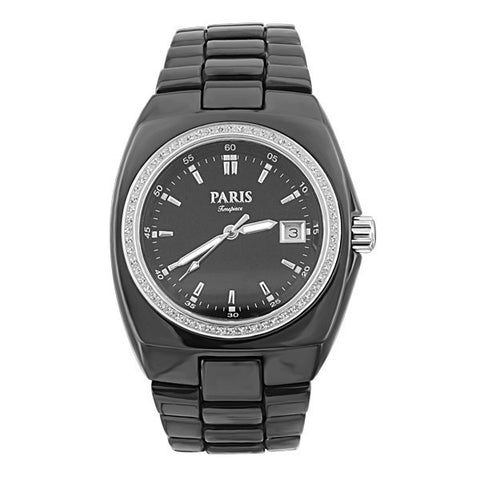MENS PARIS TIMEPIECE BLACK CERAMIC WATCH WAT-MBA-0023