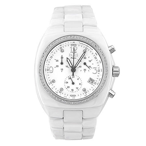 MENS PARIS TIMEPIECE WHITE CERAMIC CHRONOGRAPH WATCH WAT-MBA-0025