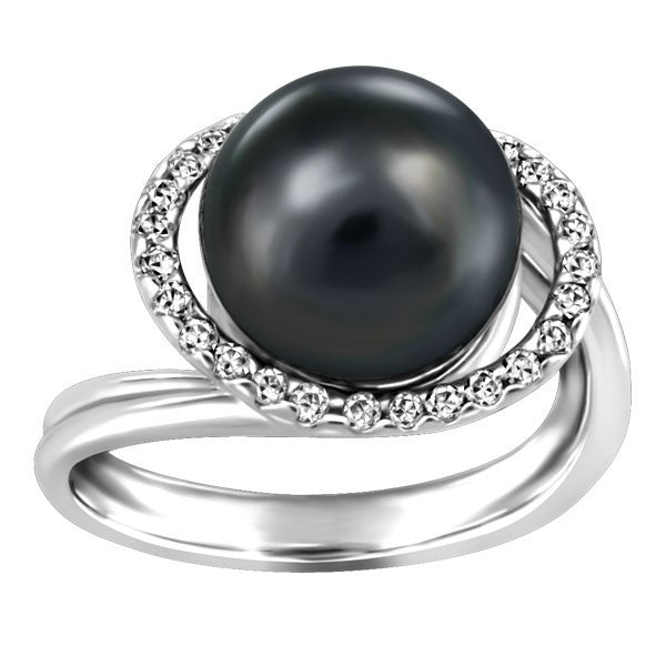 WHITE GOLD DIAMOND AND BLACK PEARL RING RIN-LGM-2646