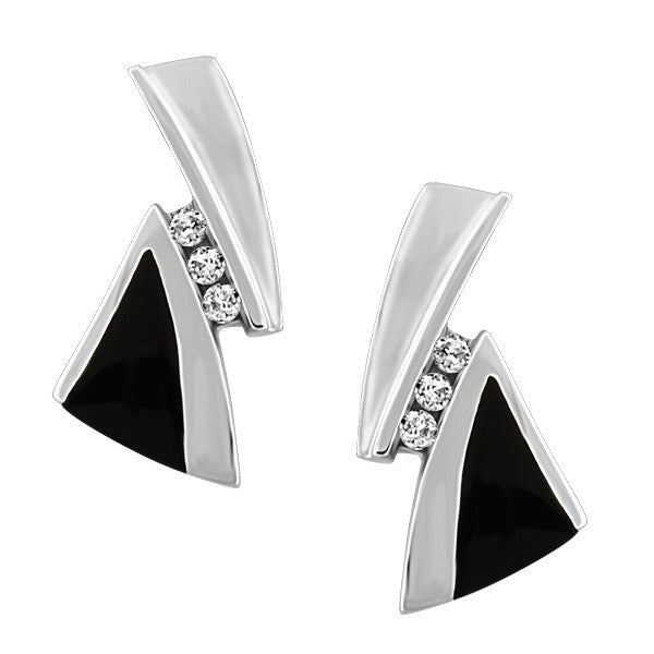 WHITE GOLD DIAMOND AND BLACK ONYX EARRINGS EAR-GEM-0982