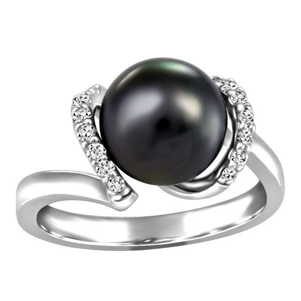 WHITE GOLD DIAMOND AND BLACK PEARL RING RIN-LGM-2608