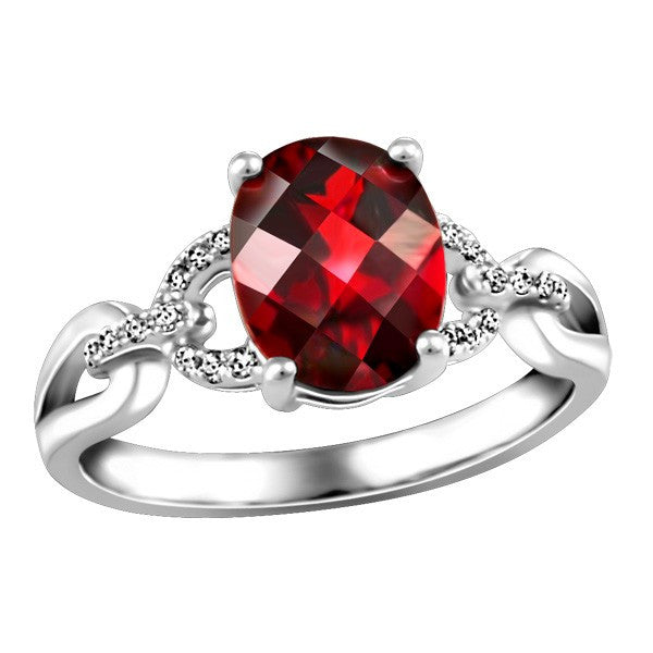 WHITE GOLD DIAMOND AND GARNET RING RIN-LGM-2618
