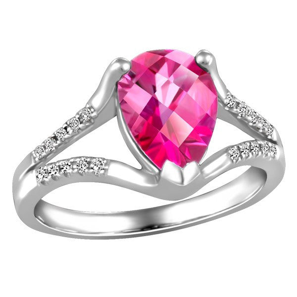 WHITE GOLD DIAMOND AND PINK TOPAZ RING RIN-LGM-2660