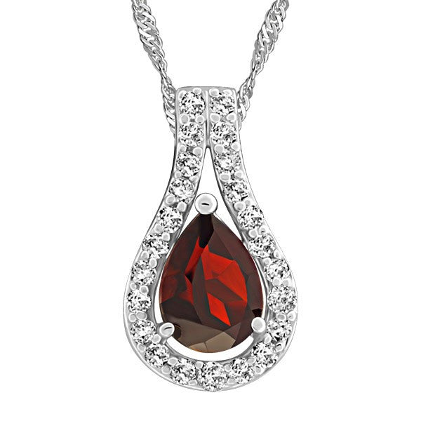 WHITE GOLD DIAMOND AND GARNET PENDANT PEN-GEM-1888