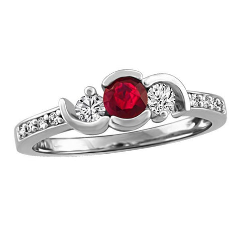 WHITE GOLD DIAMOND AND RUBY RING RIN-LGM-2672