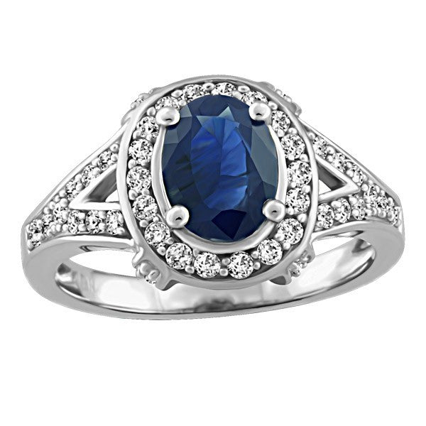 WHITE GOLD DIAMOND AND SAPPHIRE RING RIN-LGM-2666