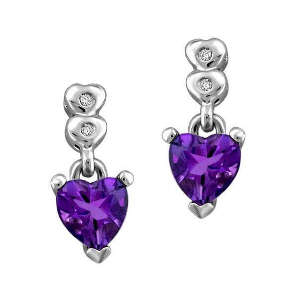 SILVER DIAMOND AND AMETHYST EARRINGS EAR-SIL-0891