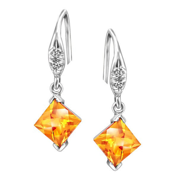 WHITE GOLD DIAMOND AND CITRINE EARRINGS EAR-GEM-1156