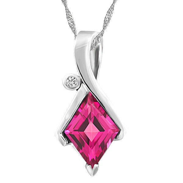WHITE GOLD DIAMOND AND PINK TOPAZ PENDANT PEN-GEM-1945