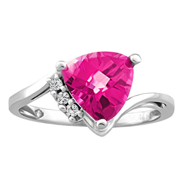 WHITE GOLD DIAMOND AND PINK TOPAZ RING RIN-LGM-2653