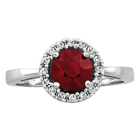 WHITE GOLD DIAMOND AND RUBY RING RIN-LGM-2685