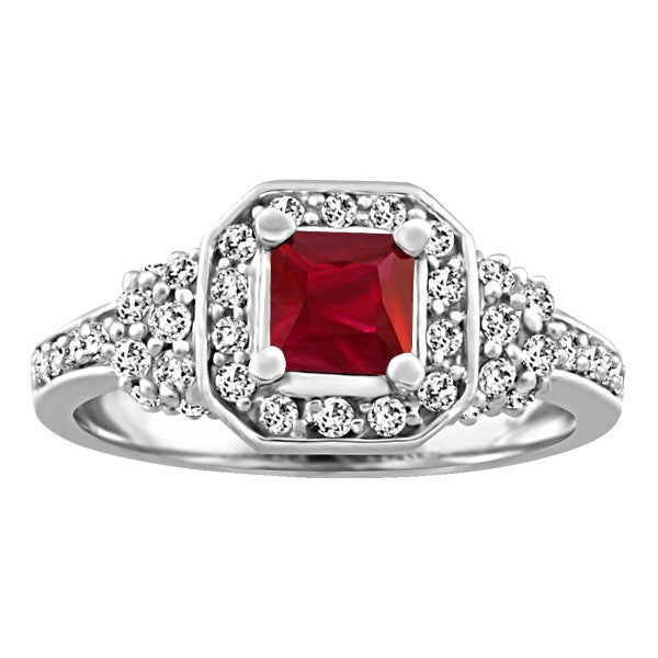 WHITE GOLD DIAMOND AND RUBY RING RIN-LGM-2692
