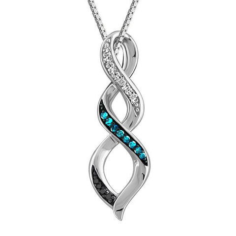 SILVER BLUE DIAMOND PENDANT PEN-SIL-1787