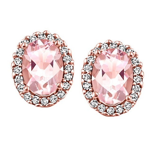ROSE GOLD DIAMOND AND MORGANITE EARRINGS EAR-GEM-1182