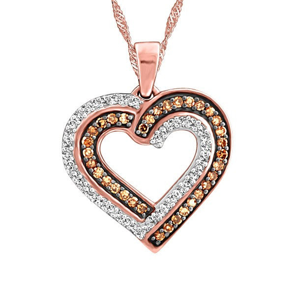 ROSE GOLD BROWN DIAMOND HEART PENDANT PEN-DIA-2690
