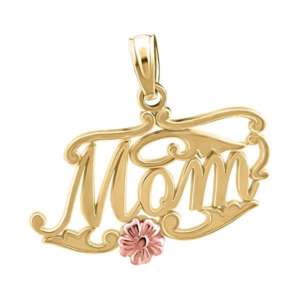 TWO TONE GOLD MOM FLOWER PENDANT PEN-GLD-2259