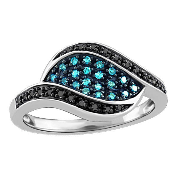 WHITE GOLD BLUE AND BLACK DIAMOND RING RIN-LDI-2161