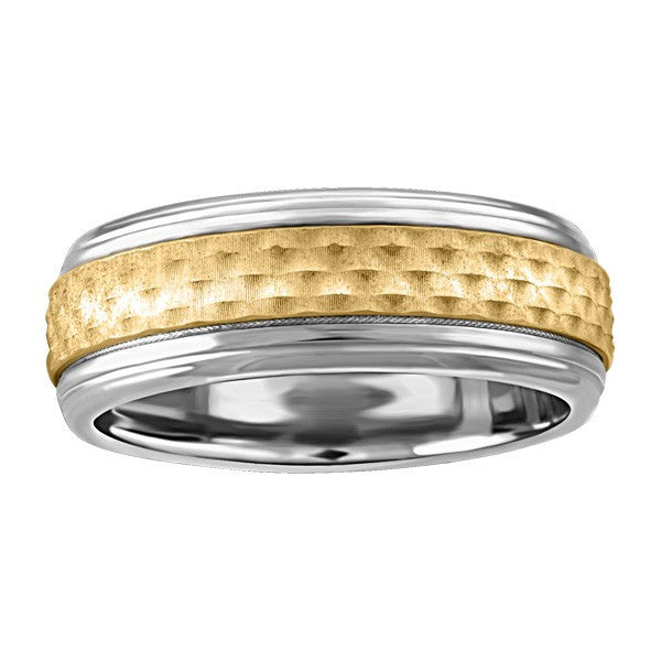MENS STAINLESS STEEL AND 10KT WEDDING BAND RIN-SIL-0241