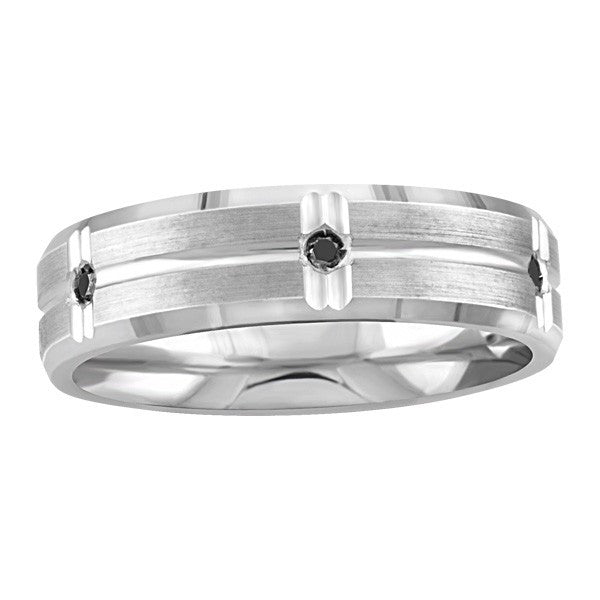 MENS SILVER BLACK DIAMOND WEDDING BAND RIN-SIL-0251