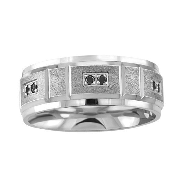 MENS SILVER BLACK DIAMOND WEDDING BAND RIN-SIL-0252