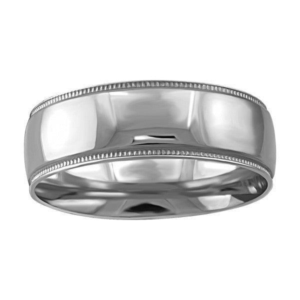 WHITE GOLD 7MM MILLED EDGE WEDDING BAND RIN-WBG-1354