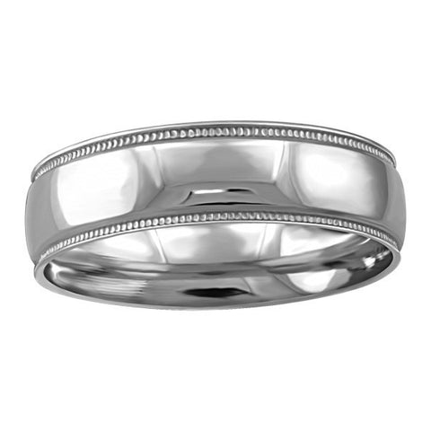 WHITE GOLD 6MM MILLED EDGE WEDDING BAND RIN-WBG-1355