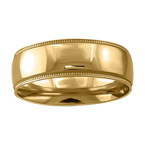 GOLD 7MM MILLED EDGE WEDDING BAND RIN-WBG-1357