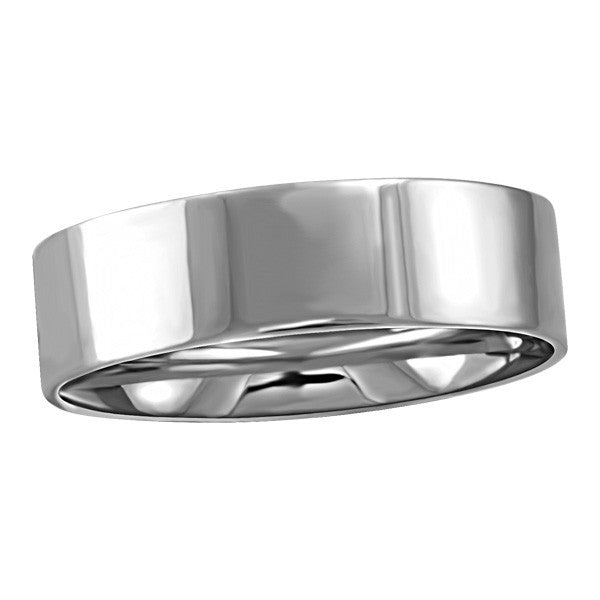WHITE GOLD 6MM PIPE WEDDING BAND RIN-WBG-1361